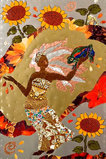 metal folk art of a woman holding a frog surrounded by sunflowers