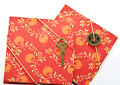 305C_Orange_Floral_Handbound_Accordian_Journal_Japanese_Paper_Key_Coin_Closure