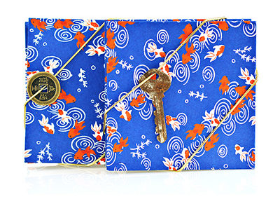 307F_Blue_Koi_Pond_Print_Handbound_Accordian_Journal_Japanese_Paper_Key_Coin_Closure