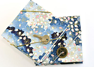 309E_Blue_Cherry_Blossom_Print_Handbound_Accordian_Journal_Japanese_Paper_Key_Coin_Closure